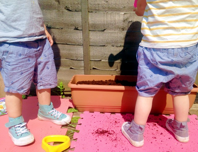 Gardening with twins